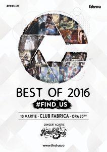Expoziţie de fotografie de concert #FIND_US – Best of 2016 – în club Fabrica