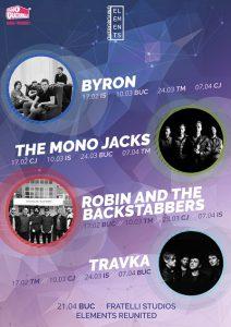 Turneul Overground Elements cu byron, The Mono Jacks, Travka și Robin and the Backstabbers continuă pe 10 martie în patru orașe din țară