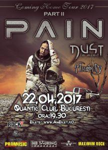 Doar câteva zile până la concertul Pain (22 aprilie, Quantic)! Guests: Dust In Mind (FR) & Arsea (IT)