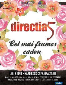 """Concert Direcţia 5: """"Cel mai frumos cadou"""", pe 8 iunie la Hard Rock Cafe din Bucureşti"""