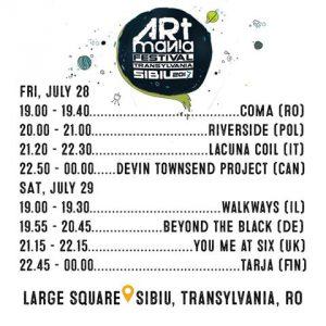 Devin Townsend Project, Lacuna Coil, Tarja, Riverside şi altii vor concerta la Festivalul Artmania 2017