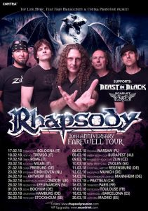 Rhapsody announce BEAST IN BLACK and SCARLET AURA as support acts for EU tour