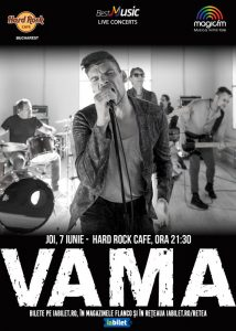 Concert VAMA – electric pe 7 iunie la Hard Rock Cafe