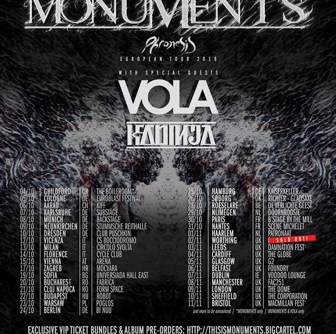 Monuments (Marea Britanie), Vola (Danemarca) și Kadinja (Franța) vor concerta în luna Octombrie la București și la Cluj-Napoca
