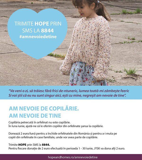 """""""Am nevoie de tine"""" – campanie de awareness și promovare a donației prin SMS pentru Hope and Homes for Children"""