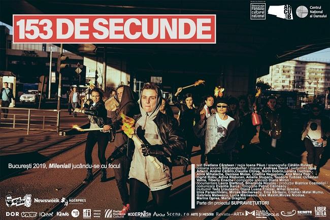 153 DE SECUNDE– Manifestul milenialilor,  pe scena Centrului Național al Dansului din București