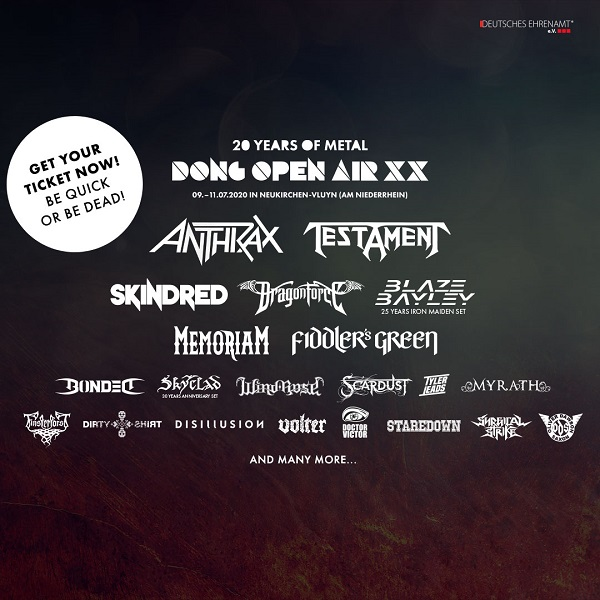Dirty Shirt va susține un recital în cadrul Dong Open Air, alături de Anthrax, Testament, Skindred și Myrath​